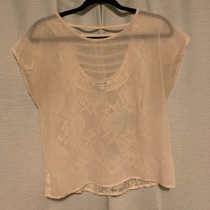 Forever21 See-Through Blouse in Cream
